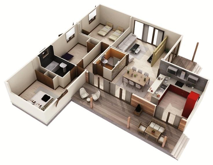 Planos de casas prefabricadas for Distribucion de una casa de una planta
