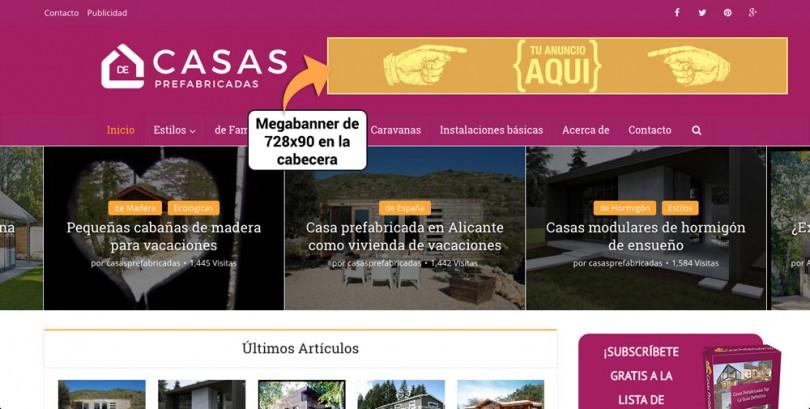 Publicidad de Casas Prefabricadas en la cabecera