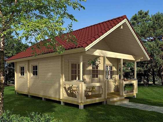Cabaña de madera con techo de madera