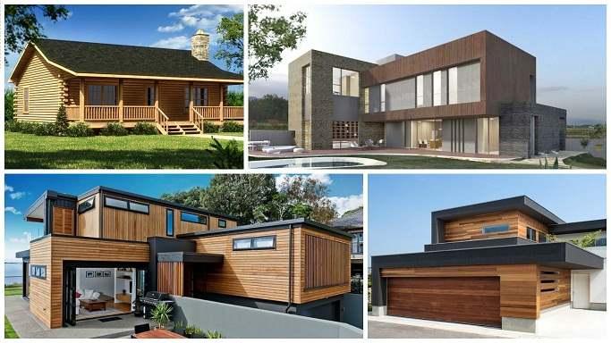 Casa prefabricada de modulares en madera con estructura de madera