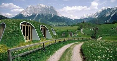 Casas al estilo 'hobbit'. Una recreación digital de las casas que comercializa la firma estadounidense Green Magic Homes