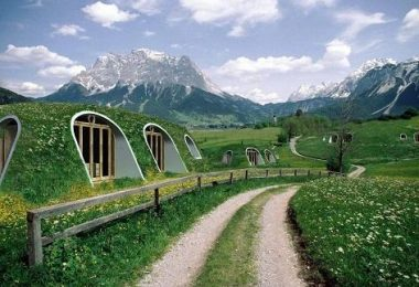 Casas al estilo 'hobbit'. Una recreación digital de las casas que comercializa la firma estadounidense Green Magic Homes