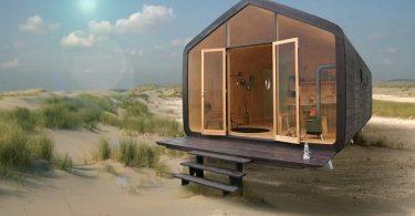 Esta casa modular se compone de segmentos prefabricados de cartón