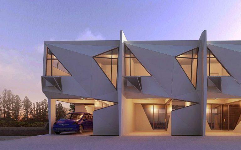 Diseño en forma de diamante en las casas prefabricadas de Ed Calma