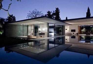 diseña una casa modular de acero y hormigón